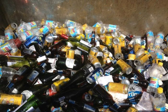 Bottles and cans for recycling