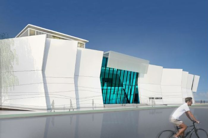 A concept drawing of the Cairns Aquarium shows a large white building with a glass facade.