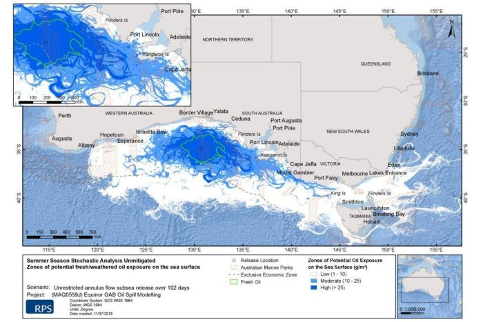 A map of southern Australia with blue plumes around the Great Australian Bight extending into Bass Strait.