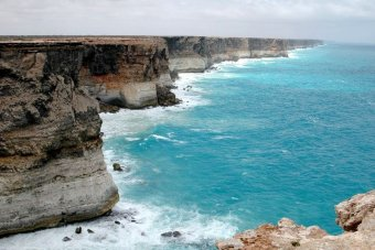 The cliff face on the Great Australian Bight near the South Australian-Western Australian border