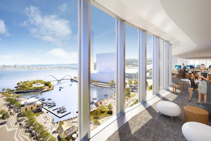 An artist's impression of looking out from a building to Elizabeth Quay.