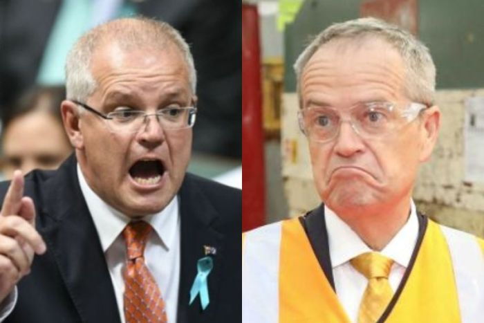 Scott Morrison has his mouth open and points a finger while Bill Shorten wears high-vis and shrugs