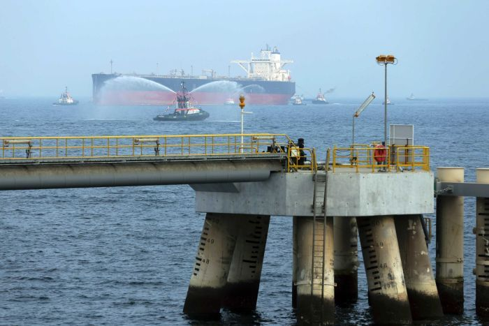 An oil tanker approaches to the new Jetty in Fujairah, United Arab Emirates.