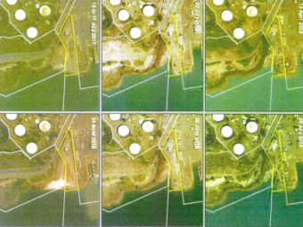 Satellite images of an altered shoreline due to alleged illegal dumping