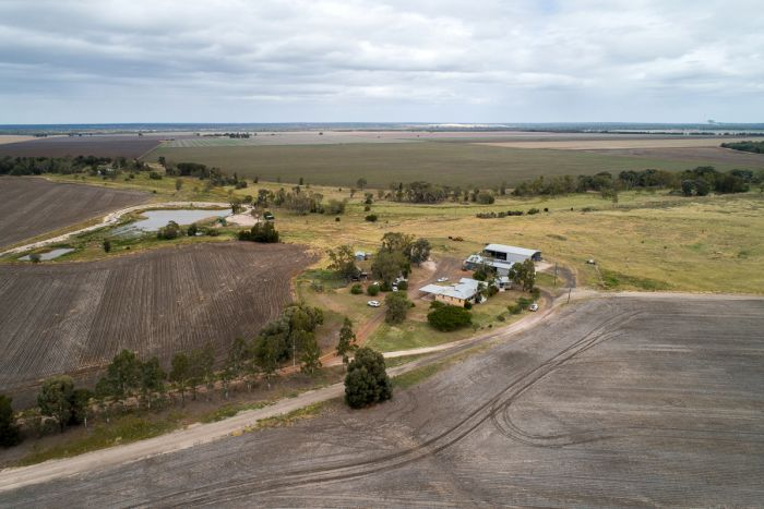 Aerial photo of Terry Dalgliesh's farm near Brigalow in southern Queensland.