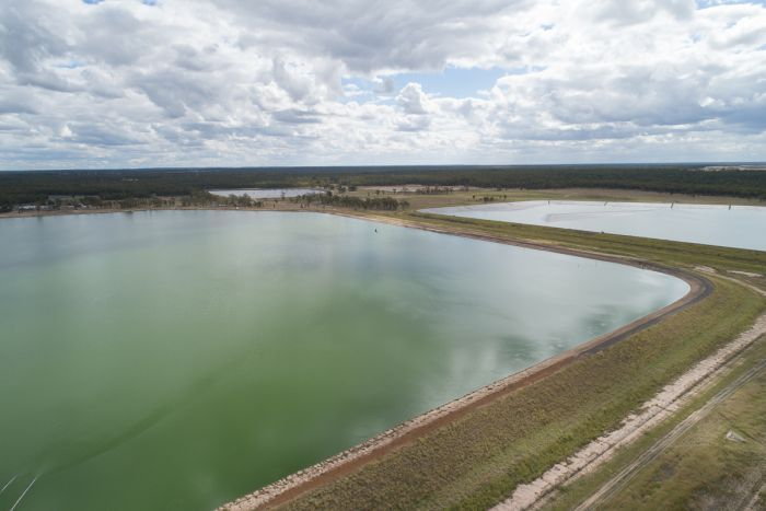 Aerial photo of an Arrow Energy CSG wastewater storage pond near Kogan in southern Queensland.