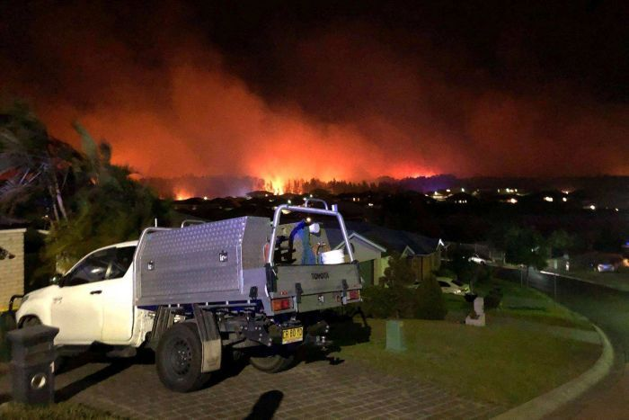 The red glow of a bushfire silhouettes a line of trees close to a block of suburban homes.