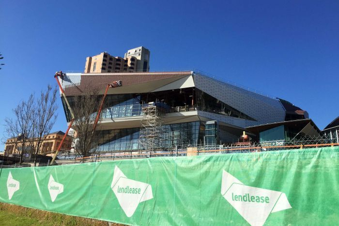 Workers on the Adelaide Convention Centre redevelopment site