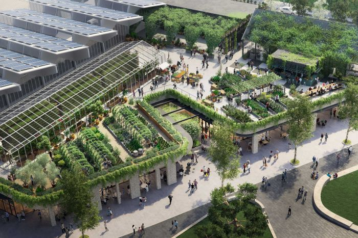 Artists impression of a 2,000 sqm urban farm on the rooftop of a shopping centre in Melbourne.