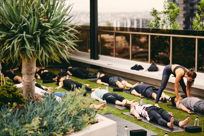 Rooftop yoga is held on the rooftop of a Lucent development at Newstead in Brisbane.