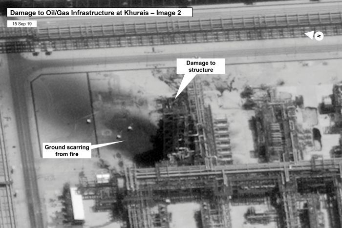 Satellite image shows damage to oil and gas infrastructure.