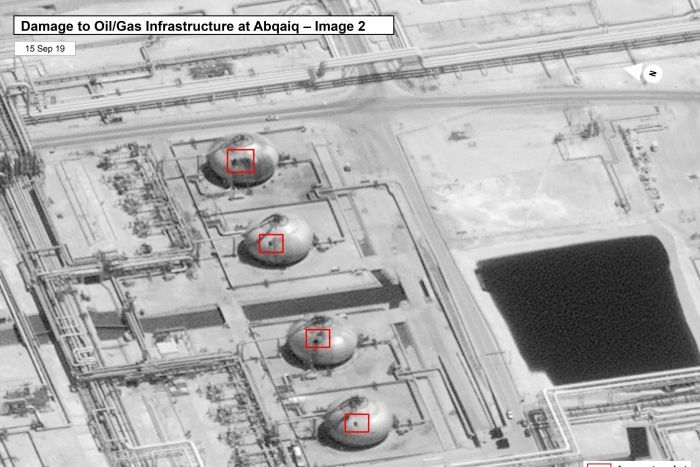 Satellite image of a damage to a Saudi oil plant.
