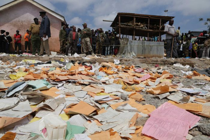 A huge pile of paper and books scatted after the school collapsed