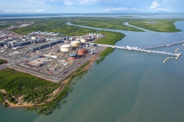 Aerial photo of Inpex's Ichthys LNG plant site at Bladin Point.